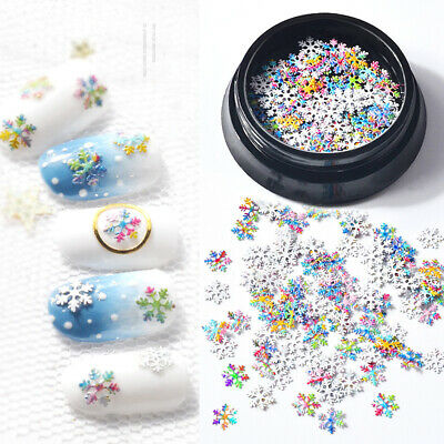 Christmas Snowflake Nail Glitter Sequins Manicure 3D Nail Art Decoration Tools