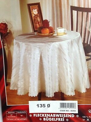 Salonika Blossom Exquisite Jacquard Easycare Tablecloth White All Sizes