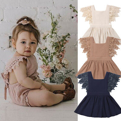 Summer Toddler Infants Baby Girls Lace Sleeveless Party Dress Clothes Outfits