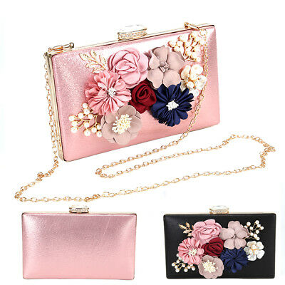 Women Ladies Clutch Purses Bag Flower Rhinestones Evening Party Handbag Wedding
