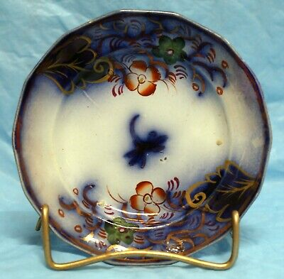 Gaudy Welsh, Flow Blue, Ironstone, Cup Plate