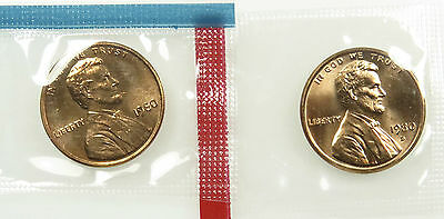 1980 P & D Uncirculated BU Lincoln Memorial Cent Penny Mint Cello (B03)