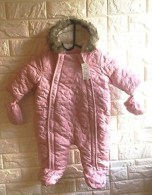 New Pink Hooded Baby Quilted Snowsuit With Gloves Outfit Age 3 - 6 Months