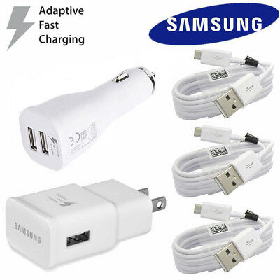OEM Samsung Galaxy S7 S6 Note 4 5 Fast Charging Dual USB Car&Wall Charger+Cable