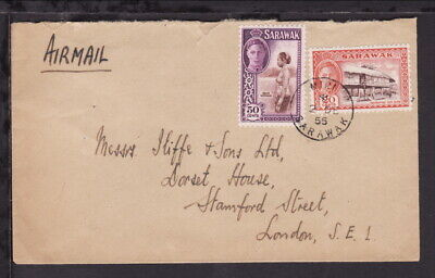 SARAWAK MALAYA 1955 MIRI KGVI 50c & 20c STAMPS 70c Rate AIRMAIL COVER to ENGLAND