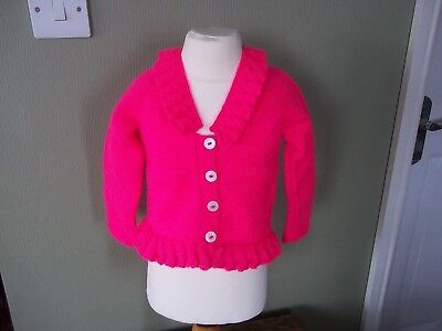 Hand Knitted Cardigan 1-2 Years Girls Bright Pink Tiny Classics