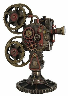 Steam Punk Steampunk Art Film Projector with LED light Veronese Bronze Figurine