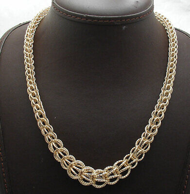 """18"""" Technibond Graduated Byzantine Chain Necklace 14K Yellow Gold Clad Silver"""
