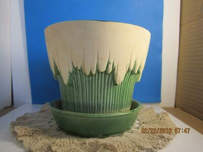 """MCCOY USA POTTERY #115 GREEN WITH UNGLAZED ICICLE DRIPS 5 1/4"""" TALL 1950's"""