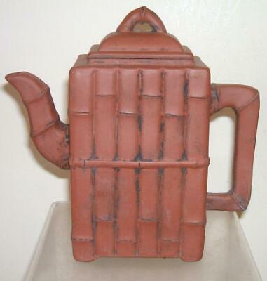 A Chinese Yixing Red Clay Bamboo Teapot