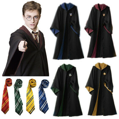 Harry Potter Cosplay Gryffindor Slytherin Hufflepuff Ravenclaw Robe Cloak W/Tie