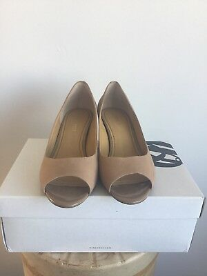 b7f9f08ca59c NINE WEST SIZE 4 Nude Leather Open Toe Courts Shoes - £15.00 ...
