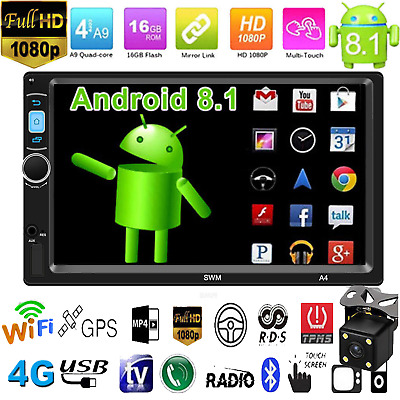7in Quad-core 2din Android 8.1 Car Stereo MP5 Player GPS FM Radio WiFi BT+Camera