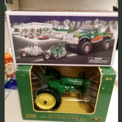 HESS 2007 TOY MONSTER TRUCK AND MOTORCYCLES* & Ertl John Deere tractor With Man