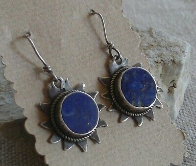 20794def6 Unique Vintage Artisan Handcrafted Sterling Silver Lapis Sun Dangle Earrings