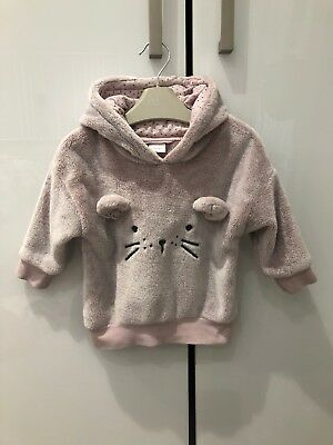 NEXT Girls Long Sleeve Cuddly Mouse Face Pink Hoody. 12-18m. Used.