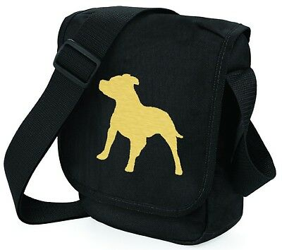 Staffordshire Bull Terrier Bag Metallic Gold / Silver on Black Bags Xmas Gift