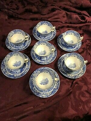 7 Spode 'Blue Italian' Tea Cups and Saucers England With Free Cup