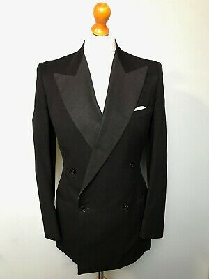 (057)  Vintage 1930's 1940's double breasted black tie dinner jacket size 36 38