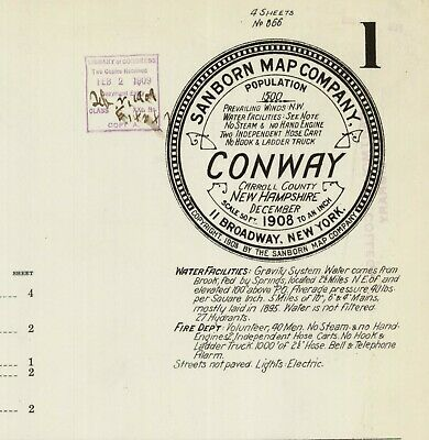 Conway, New Hampshire~Sanborn Map© sheets~12 maps~1897 to 1923 in color