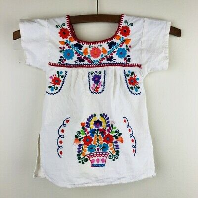 Vintage Children's Kids Mexican Peasant Oaxacan Hand Embroidered Top Blouse