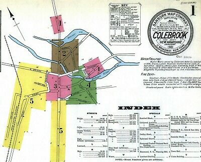 Colebrook, New Hampshire~Sanborn Map© sheets~20 maps~1887 to 1921 in color
