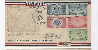 First Flight 1938 Baltimore USA to Bermuda with special delivery issues