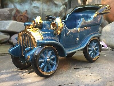 Rare Vintage Genuine Bretby Pottery Early 20Th Century Model Car C1930- Blue