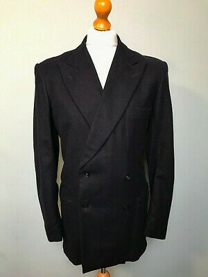 Vintage 1940's 1950's double breasted heavy wool navy blue blazer size 40