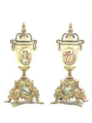 Pair Of Vintage Cream Hand Painted Sevres Style & Bronze Mantle Clock Side Urns