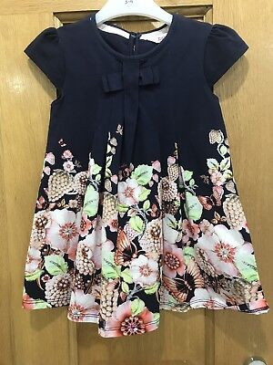 Ted Baker Baby Girls 18-24M Navy Floral Print Swing Dress £26 New