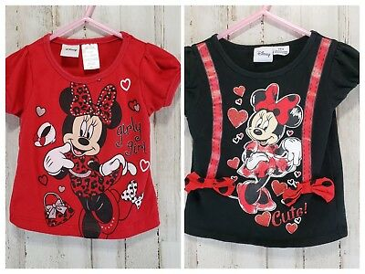"""Disney Baby Girls Top 2T/24 Mo Red Black Minnie Mouse """"Girly Girl"""" """"Cute!"""" Lot"""