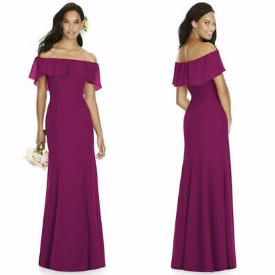 03e8bea122 NEW 8182 SOCIAL BRIDESMAIDS Fuchsia OFF THE SHOULDER CHIFFON Trumpet GOWN 10