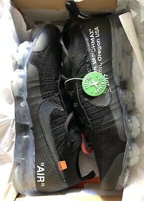 new styles 51e20 fb682 Off White Nike Air VaporMax Size 9 Black  Clear New In Box With StockX Tag