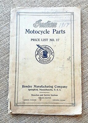 "Genuine Original 1917 ""Indian Motorcycle Parts - Price List No.17"" Hendee Mfg Co"