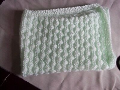 BLANKET FOR BABY 43 X 32 INS (109 CMS X 81 CMS) HAND KNITTED mint
