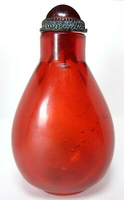 Phenomenal Quing Dynasty Red Amber Peking Glass Chinese Antique Snuff Bottle