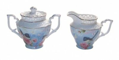 Fine Bone China Blue Wren Sugar & Creamer Set Gift Box NEW