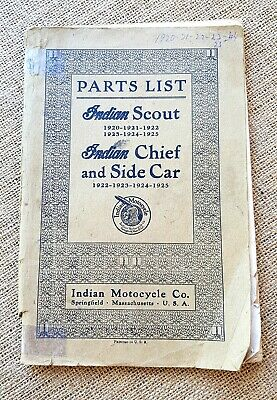 Original 1920 - 1925 Indian Motorcycle Parts List. Scout, Chief & Side Car.