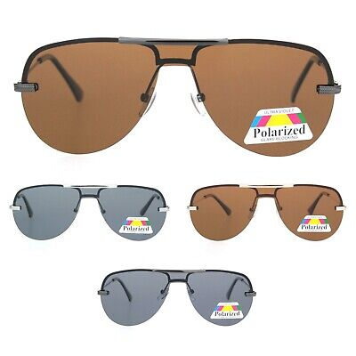 963cddfa33cd Polarized Mens Flat Top Mobster Metal Exposed Lens Pilots Sunglasses