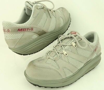 326e39eeae6f MBT Sport 04 Gray Leather Lace-Up Toning Walking Fitness Wedge Shoes Women  US 11