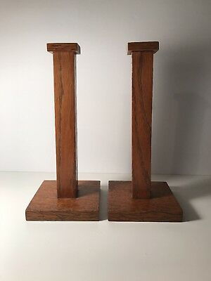 Vintage Mission Style Arts & Crafts Oak Candlestick Holders Pair