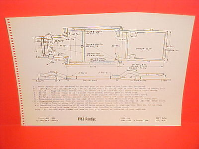 1962 Pontiac Bonneville Catalina Ventura Star Chief Safari Frame Dimension Chart