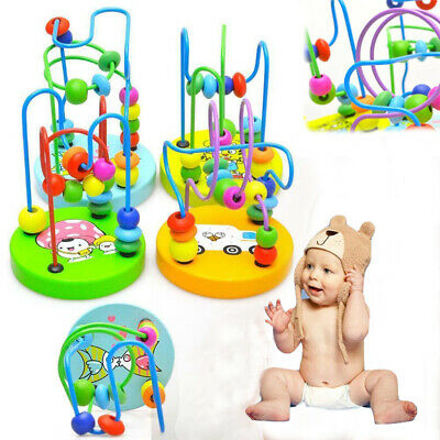 Hot Children Kids Baby Colorful Wooden Mini Around Beads Educational Game Toy