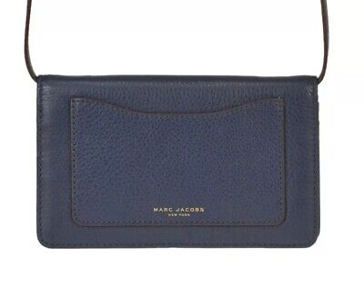 358a7d0536d3 MARC JACOBS NAVY Blue   Black Grained Leather Two Tone