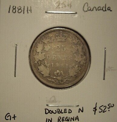 Canada Victoria 1881H Doubled N Silver Twenty-Five Cents - G+