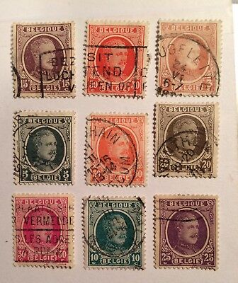 postage stamps Belgium lot of 9 old