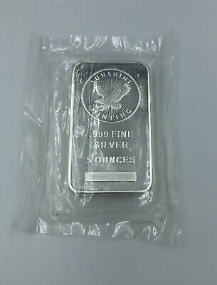 Sunshine Mint 5 oz Silver Bar .999 fine, Factory Sealed, & with MintMark SI
