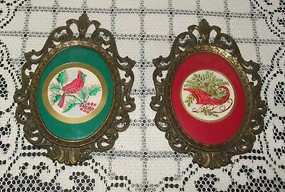 2 x SMALL VINTAGE BRASS-tone EMBOIDERED NEEDLECRAFTS Christmas theme 14cm Italy
