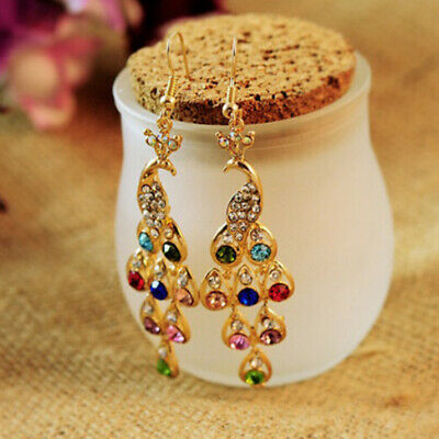 KQ_ 1 Pair Women Bohemian Vintage Peacock Eardrop Pendant Rhinestone Earrings Un